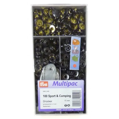 100 boutons pression 15mm sport et camping