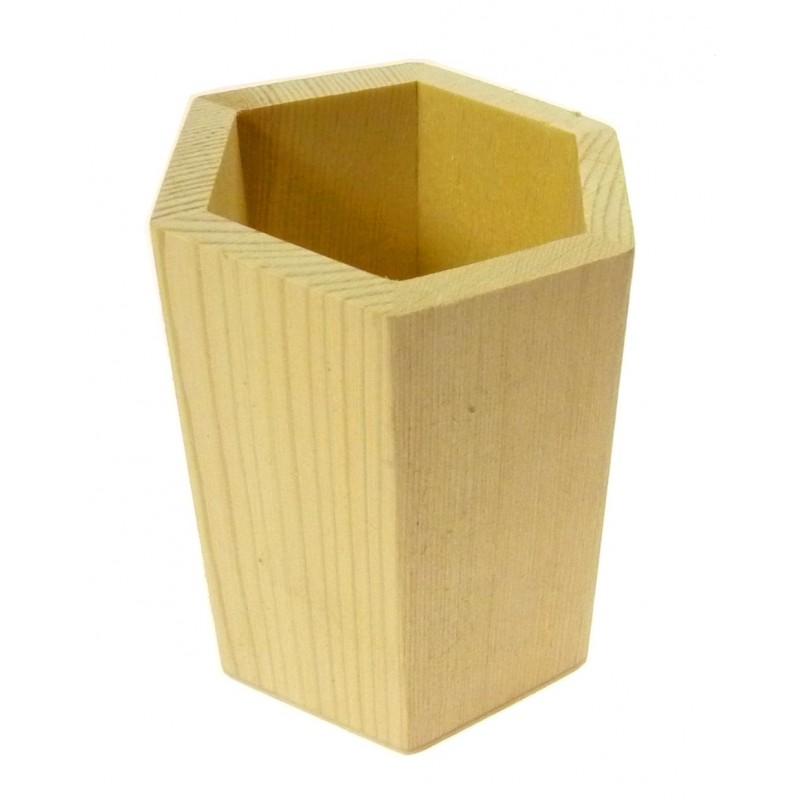 Potà crayons hexagonal en bois brutà décorer # Pot A Crayon En Bois