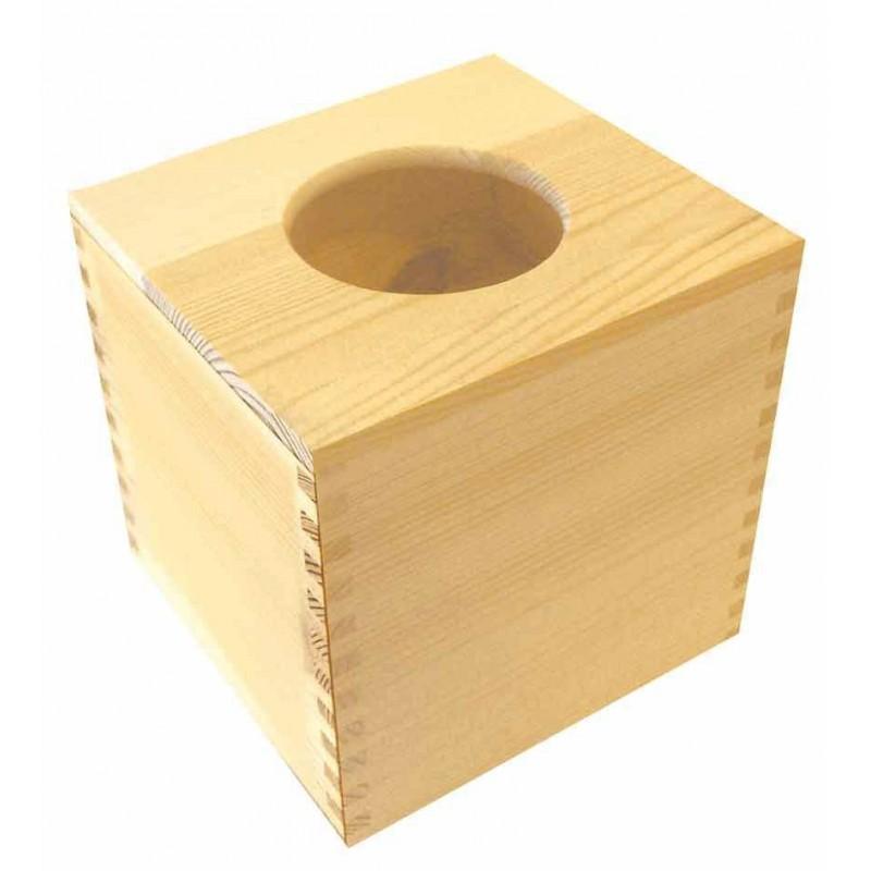 Bo te mouchoirs carr e d coupe rond en bois for Decorer une boite a mouchoirs en bois
