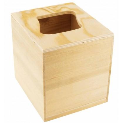 bo te mouchoirs carr e d coupe vague en bois. Black Bedroom Furniture Sets. Home Design Ideas