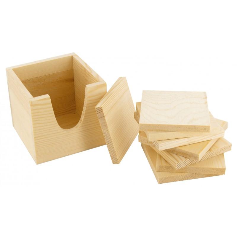 8 dessous de verre carré 8,5cm en bois brut à décorer