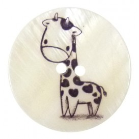 bouton nacre imprimé girafe 34mm