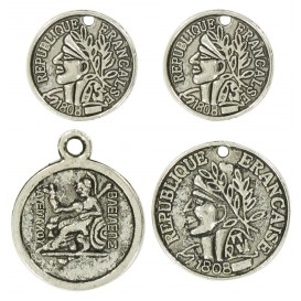 4 charms monnaie argent vieilli 2cm