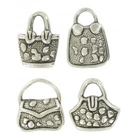 4 charms sacs à main argent vieilli 2cm