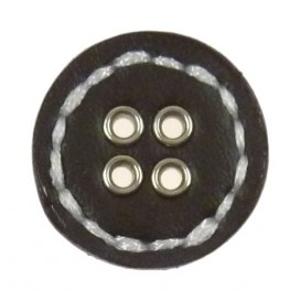 bouton rond imitation cuir 28mm