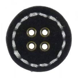 bouton rond imitation feutrine noir 28mm