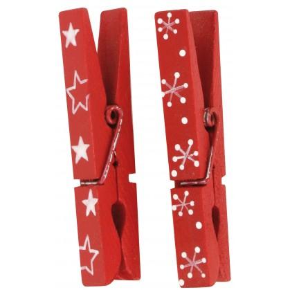 6 pinces linge rouges no l 7cm - Deco de noel en pince a linge ...