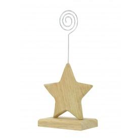 marque place étoile en bois tige métal 9x7cm