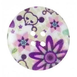 bouton déco en bois fleurs violet tête de mort 30mm