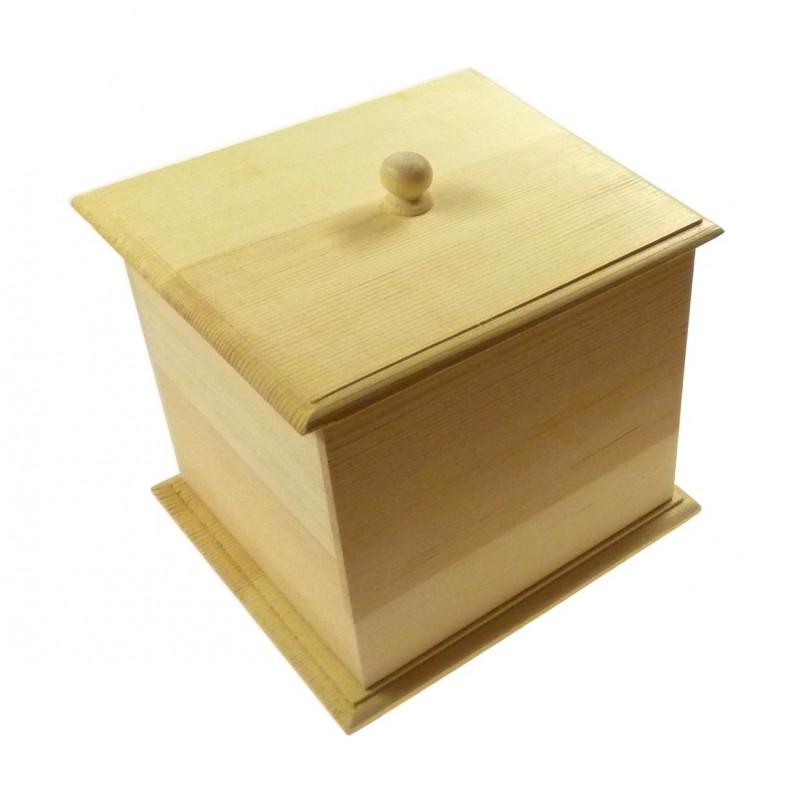 Bo te caf en bois brut couvercle amovible d corer for Boite en bois a decorer