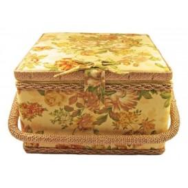 boîte à couture jaune à fleurs 22x22x13cm