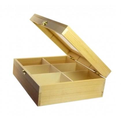 Boîte à Thé En Bois Brut 6 Compartiments à Decorer