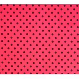 tissu coton fuchsia pois noir 6mm largeur 150cm x 50cm