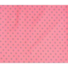 tissu coton rose pois gris 6mm largeur 150cm x 50cm