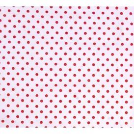 tissu coton blanc pois rouge 6mm largeur 150cm x 50cm
