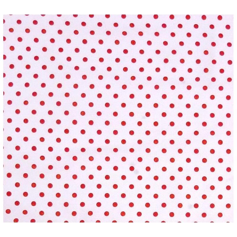 tissu coton blanc pois rouge 6mm largeur 150cm x 50cm. Black Bedroom Furniture Sets. Home Design Ideas