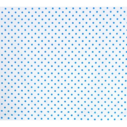 tissu coton blanc pois bleu 2mm largeur 150cm x 50cm