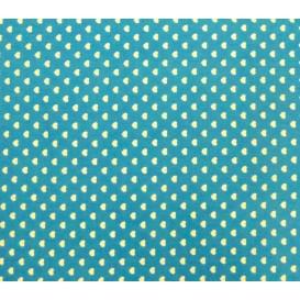 tissu coton turquoise coeurs 5mm largeur 147cm x 50cm