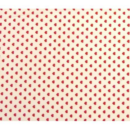 tissu coton blanc coeurs 5mm largeur 147cm x 50cm