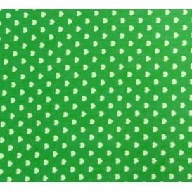 tissu coton vert coeurs 5mm largeur 147cm x 50cm