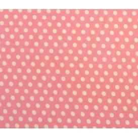 tissu coton rose pois 9mm largeur 150cm x 50cm
