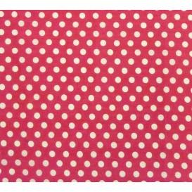 tissu coton fuchsia pois 9mm largeur 150cm x 50cm