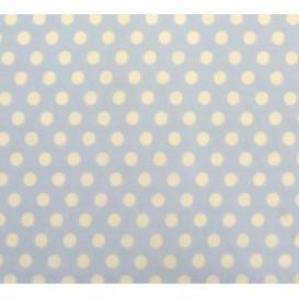tissu coton bleu clair pois 9mm largeur 150cm x 50cm