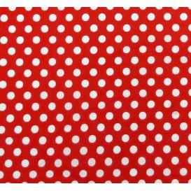 tissu coton rouge pois 9mm largeur 150cm x 50cm
