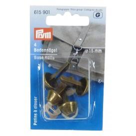 4 patins métal bronze à clouer pour sac 15mm