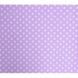 tissu coton lilas coeurs 5mm largeur 147cm x 50cm