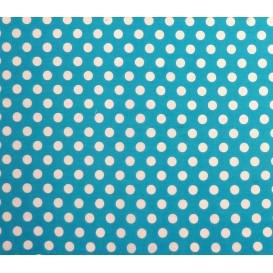 tissu coton turquoise pois 9mm largeur 150cm x 50cm