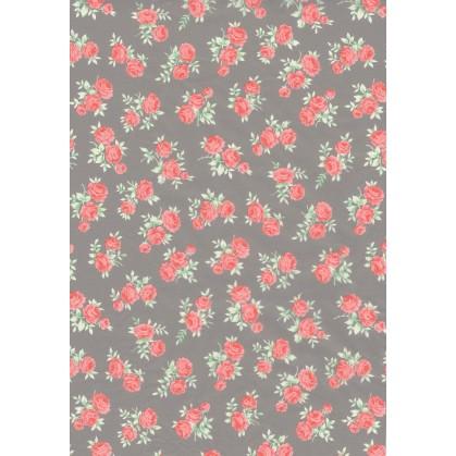 feuille décopatch grise fleurs rose