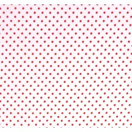 tissu coton blanc pois rouge 2mm largeur 150cm x 50cm
