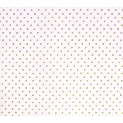tissu coton blanc pois beige 2mm largeur 150cm x 50cm