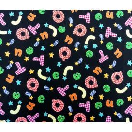 tissu popeline noir lettres largeur 145cm x 50cm