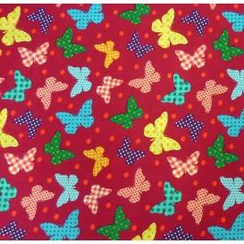 tissu popeline fuchsia papillons largeur 145cm x 50cm