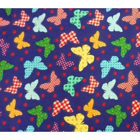 tissu popeline bleu papillons largeur 145cm x 50cm