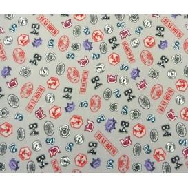 tissu popeline gris écussons largeur 145cm x 50cm