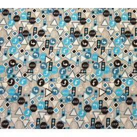 tissu popeline gris panneaux bleus largeur 145cm x 50cm