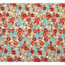tissu popeline gris panneaux rouges largeur 145cm x 50cm