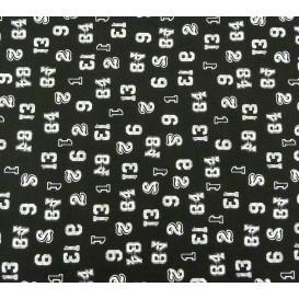 tissu popeline noir chiffres largeur 145cm x 50cm