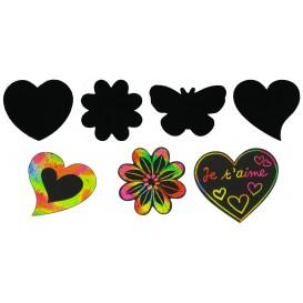 kit 24 gommettes coeurs et fleurs à gratter