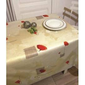 toile cirée fleur coquelicot largeur 180cm x 50cm