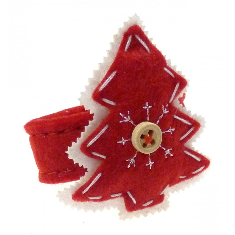Rond de serviette en feutrine sapin rouge for Decoration porte pour noel