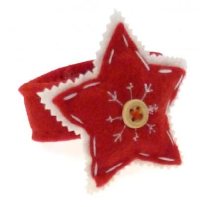rond de serviette en feutrine étoile rouge