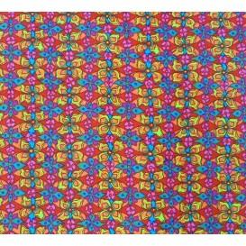 tissu stenzo velours rouge fleurs largeur 147cm x 50cm