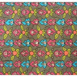 tissu stenzo velours gris fleurs largeur 150cm x 50cm n°2