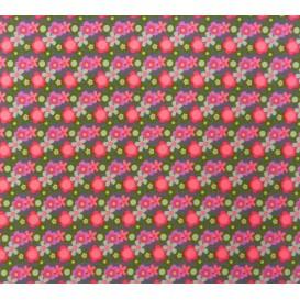 tissu stenzo popeline gris fleurs largeur 153cm x 50cm