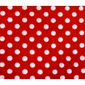 tissu doudou rouge à pois largeur 145cm x 50cm