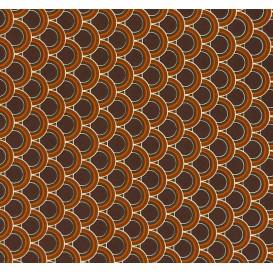tissu stenzo popeline marron ronds largeur 150cm x 50cm